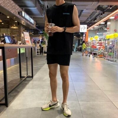 Quần short nam + áo ba lỗ + giày sneaker