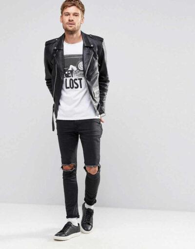 Quần skinny jean rách + Áo thun hình