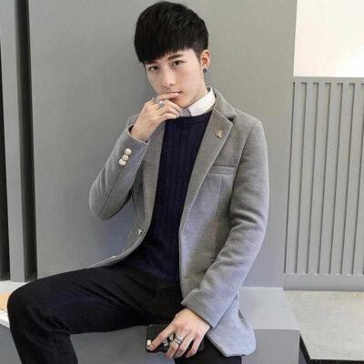 Áo sơ mi kết hợp với áo len mỏng + Quần jean