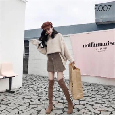 Váy len với boot đùi xinh xắn